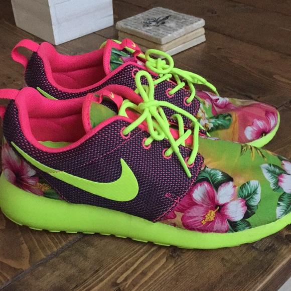 b39b660066780 Custom Nike Roshe Hawaiian Flower Neon Size 8