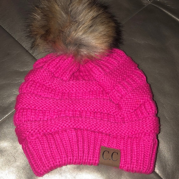 8cfd85596b2 CC Accessories - Rare C.C hot pink neon hat beanie pom Pom CC hat
