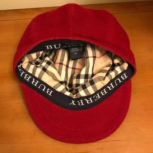 c4a2c56e Burberry Accessories | Rare Vintage Red Wool Newsboy Hat | Poshmark