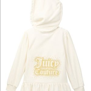 JUICY COUTURE IVORY GIRL VELOUR HOODIE