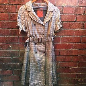 Plaid Short Sleeve Pea Coat Peacoat size Medium