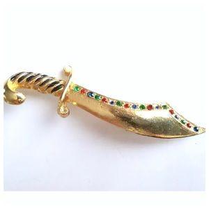 Vintage Goldtone Rhinestone Sword Brooch, Pin