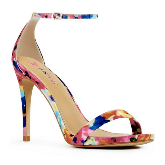 2acfbe40ec0f JustFab Rosey Floral Strappy Heels