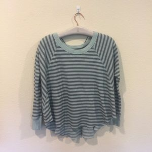 Free People blue striped long sleeve tee
