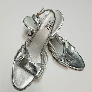 Vaneli Silver Low Heel Sandals Size 9.5 N