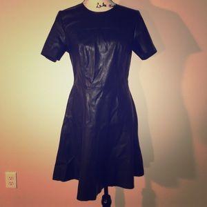 Catherine malandrino black faux leather dress 8