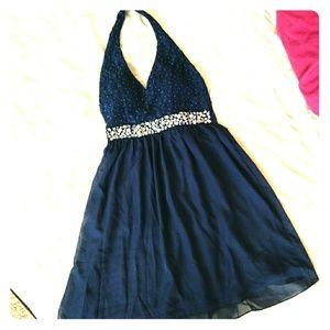 Dresses & Skirts - Halter neck Navy blue embellished belt party dress