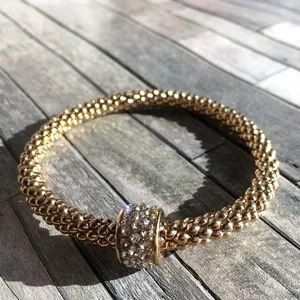 simple gold with rhinestone bracelet