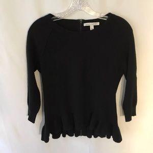 Autumn Cashmere Peplum Black Sweater S
