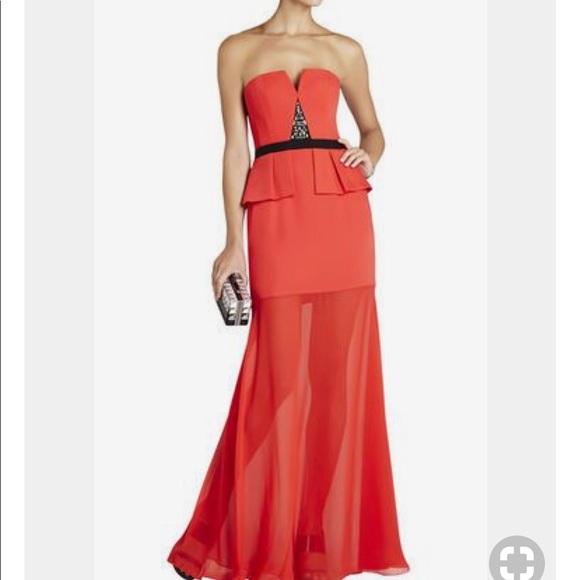 BCBGMaxAzria Dresses | Caitlyn Peplum Gown Red Color Size 4 | Poshmark
