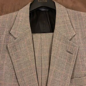 Burberry Grey, Red & Black Glenn Plaid Suit 40L
