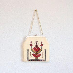 Vintage Handbag Clutch Evening Bag Cream Pattern
