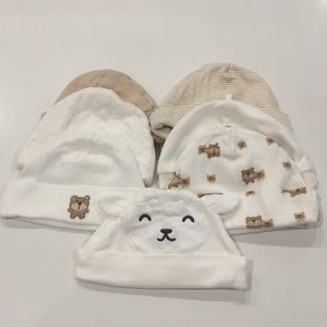 Bundle of 7 newborn baby caps gender neutral