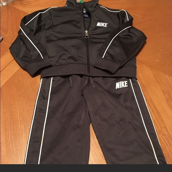 Gray Nike little boys track suit