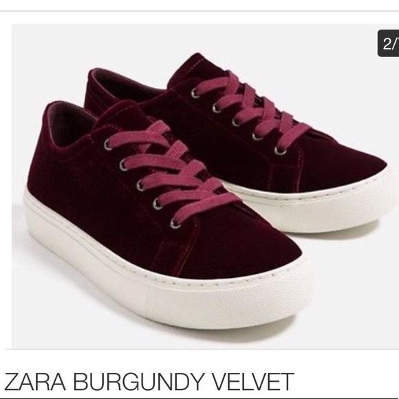 Zara Shoes   Zara Burgundy Velvet