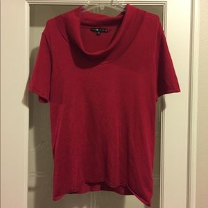 Preston & York Red Cowl-Neck Short Sleeve Sweater