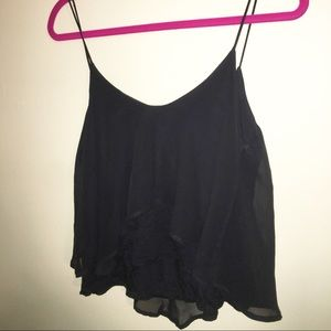 Black 2 Layer (Cotton & Sheer) Skinny Strap Shirt
