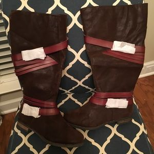 Lane Bryant size 11W faux brushed leather boots