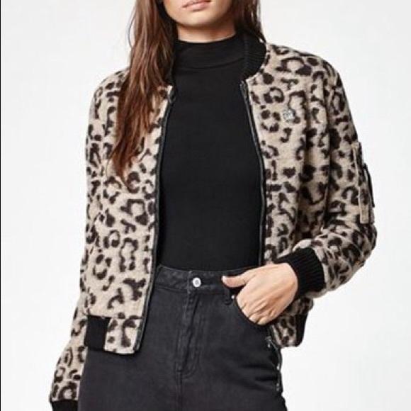 77140d69136d Obey Jackets & Coats   Karina Leopard Print Bomber Jacket   Poshmark