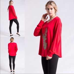 Sequins Reindeer French Terry Top