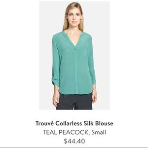 Trouve Collarless Silk Blouse