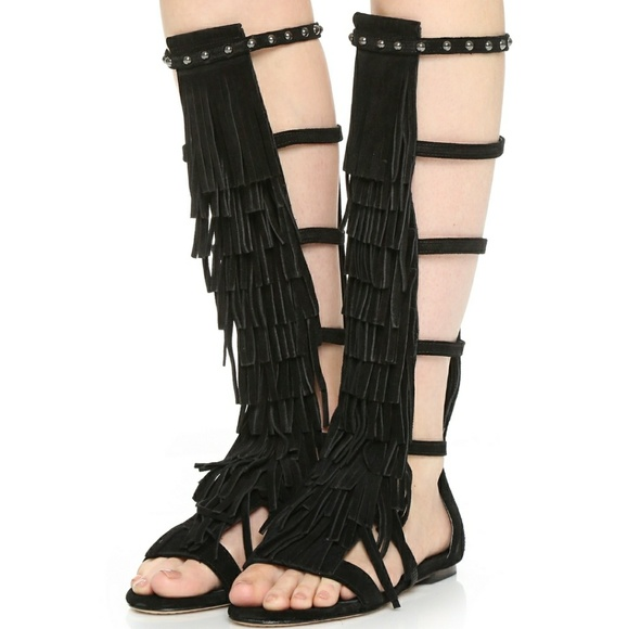 6223f86b101f New Alice + Olivia Suede Gladiator Sandals Black