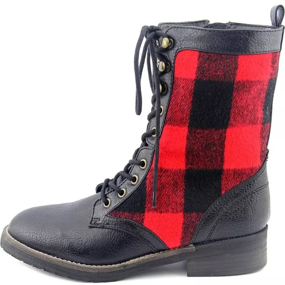 f4f111b3b Steve Madden Shoes | List Madden Girl Red Flannel Combat Boots New ...