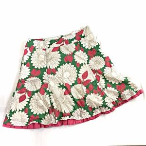 Boden Size 14 Crinkle Cotton Skirt Green Pink