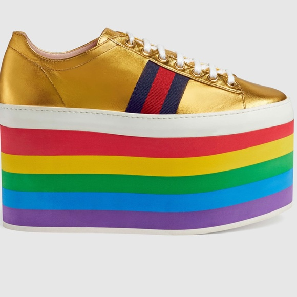 7e1a07b7ed5 Gucci Shoes - Gucci Rainbow platform tennis shoes