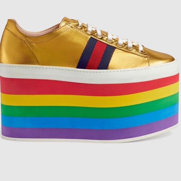 b7ef336c491 Gucci Shoes - Gucci Rainbow platform tennis shoes