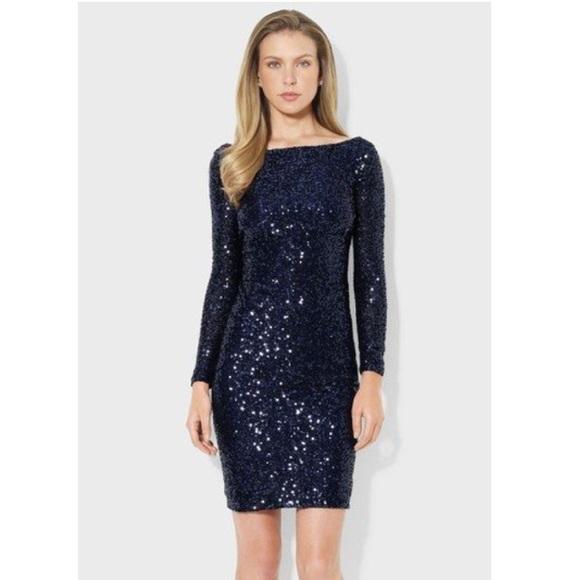 Lauren Ralph Lauren Dresses | Sequin Bodycon Dress Navy Blue | Poshmark
