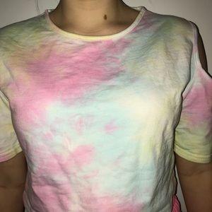 Tie Dye Cold Shoulder Crop Top