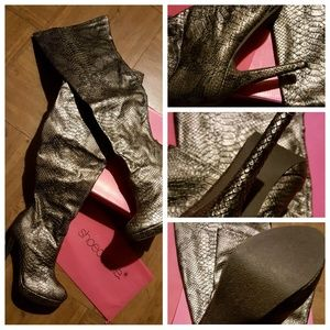 Rhiannon pewter thigh high boots