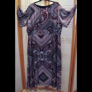 Women's Plus 3x Multi-Color Geometric Design Dress