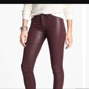 Article of Society Purple Leather Jeans