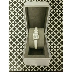 NWOT DKNY Skinny Leather Watch in White