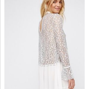 5547777019a Free People Tops - Free People Secret Origins Pieced Lace Tunic Small