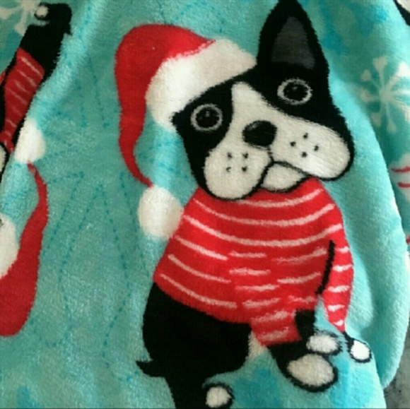 boston terrier christmas blanket