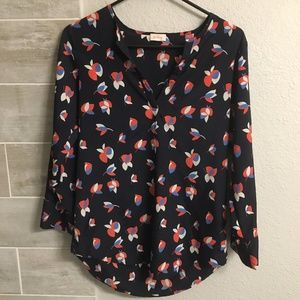 Navy and Coral Pattern 2/4 sleeve Top