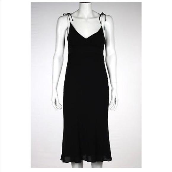 J. Crew black 100% silk tie strap v-neck dress- 4 125aec6db
