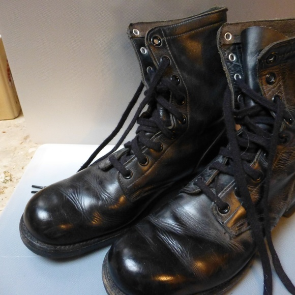 e0124dec26b80 BIKER Military Army 60's lace leather boots sz 12