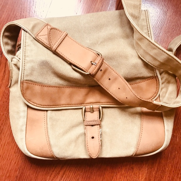 L.L. Bean Handbags - LL Bean Canvas and Leather Messenger Crossbody Bag