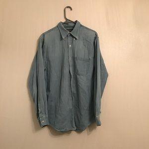 LANDS'END Blue Denim Cotton Button Up Shirt Large