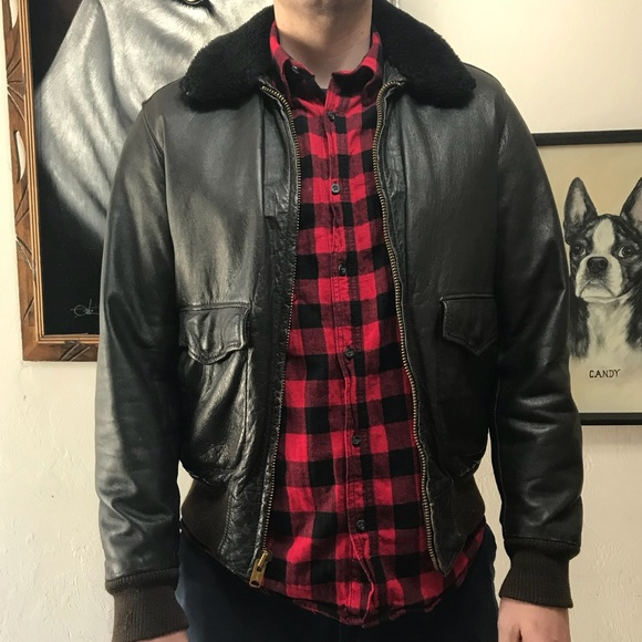 a674728c7 Vintage L.L. Bean Leather Bomber Jacket