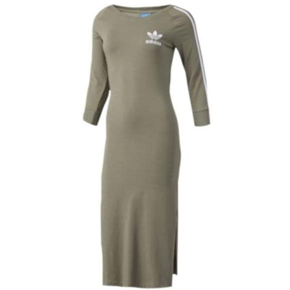 f405812642 NEW ADIDAS Midi Dress Olive Green size Large