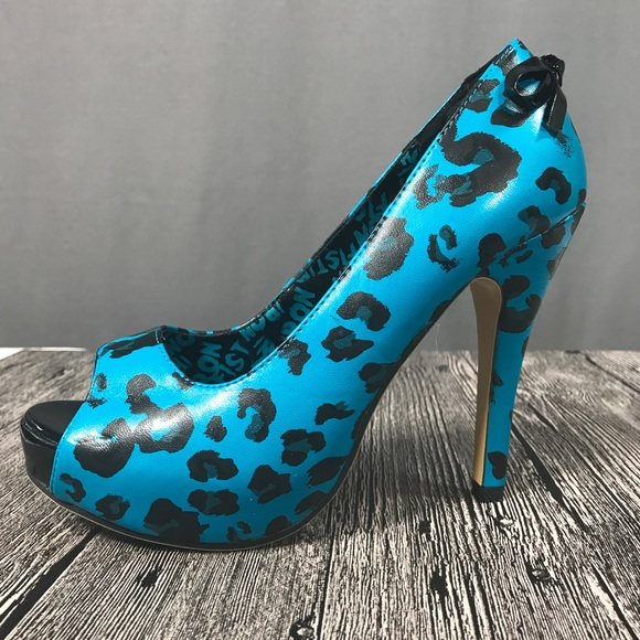 2068808392f4 Iron Fist Shoes | Turquoise Leopard Print Pinup Heels | Poshmark