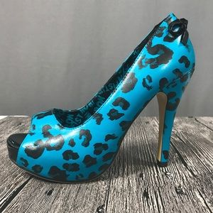 Turquoise Iron Fist Leopard Print Pinup Heels