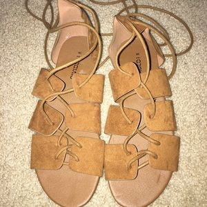 Cute Brown Lace Up Suede Sandals