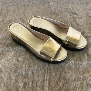 French Connection Gold Sandals Size 10