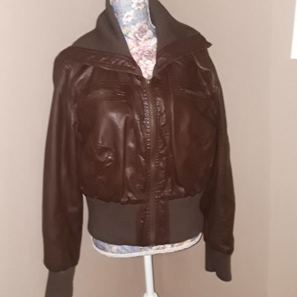 46b6e1998 Ambiance Apparel Brown Faux Leather Jacket